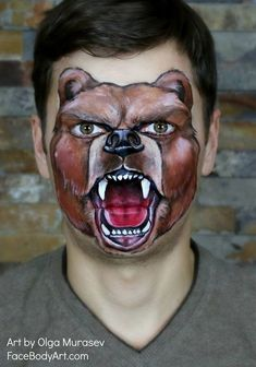 Animal Face Paintings, Animal Faces, Adult Face Painting, Painting For Kids, Face Paint Makeup, Makeup Art, Bear Face Paint, Kids Makeup, Painting Tattoo