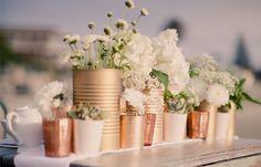vasos de flores para casamento. decoração vintage
