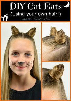 If you're looking for a quick & easy Halloween costume & hairstyle, look no further! Come watch our video and see this fun cat ear hair tutorial - using your own hair! Crazy Hair Day At School, Crazy Hair Days, Crazy Hair Day For Teachers, Cat Girl Costume, Diy Cat Costume, Homemade Cat Costume, Cat Costume Makeup, Homemade Halloween, Diy Cat Ears