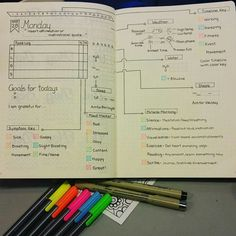 Daily template spread by @craftyenginerd. Love the color coding and simplicity!