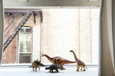 A Playful Tribeca Loft That Does A Teepee RIGHT #refinery29  http://www.refinery29.com/pj-mattan-bezar-home-tour#slide-18  This troupe of dinosaurs keeps guard over the window. The alley beyond is where the opening credit sequences for both Ninja Turtles movies were shot. It's also, sadly, where Batman's parents were murdered in Gotham.