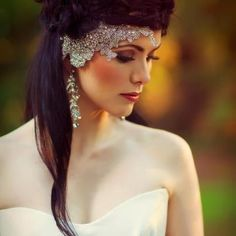 Silver lace, rhinestone and Swarovski crystal hair piece by @Vicky Rockstars and Royalty. Photography by @Robert Coppa. For more #wedding inspiration visit www.modernweddingblog.com.