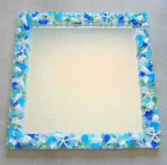 Beach Decor Sea Glass & Shell Mirror  by beachgrasscottage on Etsy, $1100.00