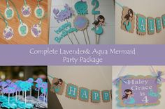 Lavender & Aqua Mermaid and  Girly Sea Animal Complete Birthday Party Package