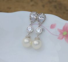 pearl bridal earring  pearl wedding earring  pearl earring bridesmaid earring on Etsy, $29.57 AUD