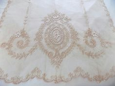 PAIR! Antique ECRU Victorian Normandy Tambour Net Lace Curtain Panels ~ Vintage Shabby Cottage Chic Scalloped Ruffled Sides ~ Old French