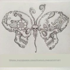 Art skull butterfly tattoo Hand drawing on paper Stock Photo Monarch Butterfly Tattoo, Simple Butterfly Tattoo, Butterfly Tattoo Meaning, Butterfly Tattoos, Mariposa Butterfly, Butterfly Drawing, Flower Tattoos, Tattoo Drawings, Body Art Tattoos