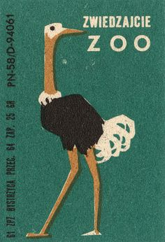 Ostrich from vintage matchbox label at www.completelycatherine.com
