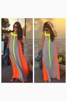 Neon Color Sleeveless Long Maxi With Denim Jacket | Fashion Inspiration