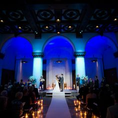 Blue ceremony up-lighting | Events by I. Candy