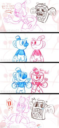 Here is another Cuphead and Mugman comic featuring Baroness Von Bon Bon! Me and my sister finally defeated Baroness Von Bon Bon tonight, so decided to draw this quick silly idea! xD enjoy!
