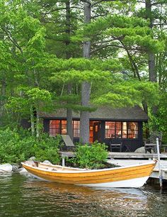 The 35 homey wood-paneled cottages of Migis Lodge are nestled amid 125 pine-forested acres on the shores of southern Maine's Sebago Lake home mountain, 14 Rustic-Luxe Lodges to Explore This Summer Lake Cottage, Cottage Living, Lakeside Cottage, Wood Cottage, Cottage Design, House Design, Patio Design, Cottage Style, Tiny House