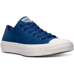 Converse Women's Chuck Taylor All Star Ii Ox Casual Sneakers from... ($75) ❤ liked on Polyvore featuring shoes, sneakers, navy, star shoes, special occasion shoes, cushioned shoes, navy blue evening shoes and converse trainers