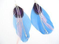 Boucles d'oreilles plume bleu/violet