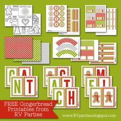 RV Parties: FREE Gingerbread Party Playdate Printables.  It comes with pdf files to make an 8 page coloring book, cupcake toppers and wrappers, straw flags, water bottle labels, treat bag toppers, mini candy wrappers, food labels, banner and coordinating paper.