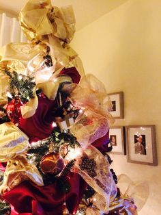 Christmas Tree 2014 - up close with ribbons and ornaments
