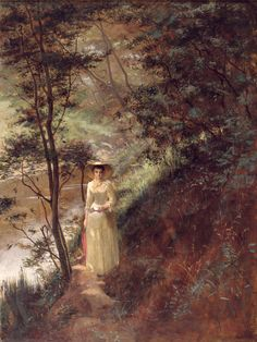 The Letter (1884). Frederick McCubbin(Australian, 1855–1917). Oil on canvas.Art Gallery of Ballarat. The depiction of an elegantly gowned woman holding what is presumably a love letter strolling along a river bank in the Australian bush has a strong anecdotal element to it. It may have been inspired by the play The Professor performed in Melbourne in 1882.Essentially a study in light and colour, McCubbin blocked the painting in with vermillion before adding the other colours.