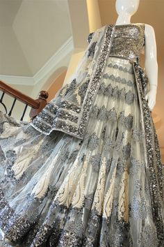 Silver/Grey Bridal Lengha - Would be GORGEOUS for a reception!
