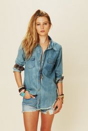 True Grit Denim Top at Free People Clothing Boutique