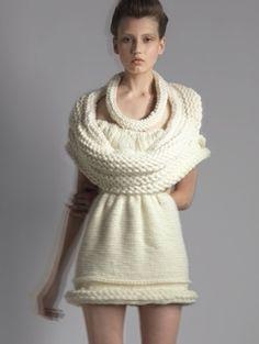 One of Qui Hao's striking knitwear designs using wool.