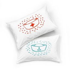This quality Cotton white pillow slip has been hand screen-printed from my own illustration. Nurse or sailor design White Pillows, Bed Pillows, Furniture Decor, Sailor, Screen Printing, Pillow Cases, Prints, Design, Art