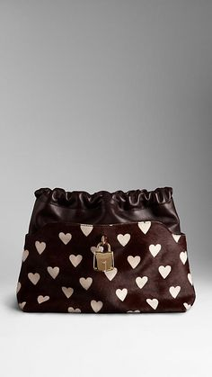 The Little Crush in Heart Print Calfskin and Leather   Burberry