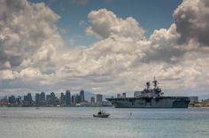 """Meteorologist Pat Brown for ABC News in San Diego said, """"Is this a great San Diego shot or what?--the USS America pulling into our fine city under a dynamic sky piled high with cumulus clouds...thanks to 10News Weather Watcher Linda Schafer for sharing her photograph."""""""