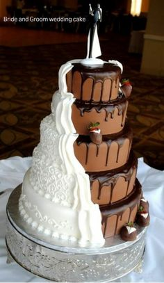 Chocolate and Vanilla bride and groom compromise wedding cake - 10 unique wedding cakes