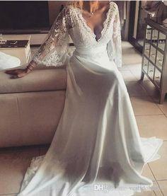 Discount Bohemian Wedding Dresses Illusion Lace Bridal Gown Backless Long Sleeve Summer Beach Chiffon Boho Bride Bridal Gown Plus Size 2018 Weddings Dresses Weding Dresses From Vestidobridal, $110.56| Dhgate.Com