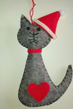Grey Cat in Santa Hat hanging Christmas tree decoration - NEW shape & design for Christmas 2016. Made from felt and finished with a red love heart, collar, bead eyes and a hanging loop. | eBay!
