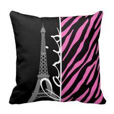 Paris; Pink & Black Zebra Print Throw Pillow Nursery Room Decor, Nursery Themes, Themed Nursery, Nursery Ideas, Bedroom Ideas, Throw Pillow Cases, Throw Pillows, Paris Decor, Paris Theme