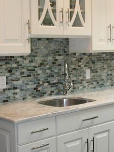 Kitchen Design, Adorable Latest Kitchen Designs With Remarkable White Kitchen Cabinet Also Green Mosaic Tiling Backspalsh Also Elegant Fauce...