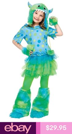 girls child deluxe blue green polka dot monster miss furry costume outfit