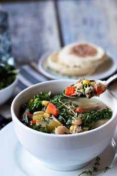 Turkey Soup with White Beans and Kale Tons of veggies, protein and bone broth make this a super healthy and nutritious soup to use up every last bit of turkey from your bird. Best Gluten Free Recipes, Healthy Soup Recipes, Appetizer Recipes, Real Food Recipes, Dinner Recipes, Cooking Recipes, Top Recipes, Bean Recipes, Cooking Ideas
