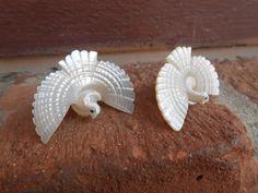 Vintage Dove Earrings. 1960's Hippie Shell by TreeTownPaper, $10.00