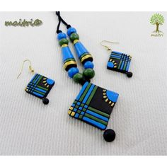 Terracotta Jewellery - Blue Black Square www.facebook.com/maitri.crafts.maitri maitri_crafts@yahoo.com