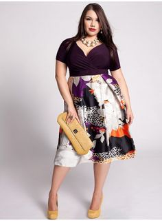 Plus Size dress with purple top and print skirt