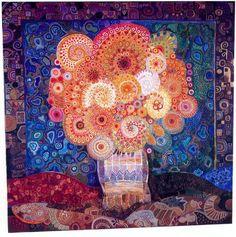 Homage to Gustav Klimt ~ artist Juan Romero, c.1991 #art #painting #abstract
