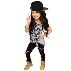 2pcs-Set-Toddler-Kid-Outfit-Print-Girl-Fashion-T-shirt-Tops-Long-Pants-Trousers