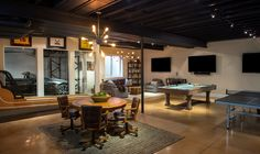 Pratt Designs :: Cherry Creek :: Industrial Basement Game Room with a Car Port…