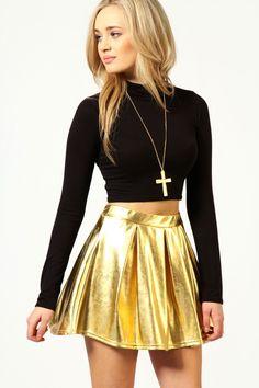 Celia Box Pleat Metallic Shiny Skater Skirt