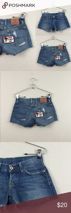 """Lucky brand shorts • Lucky brand shorts • Cute patch detailing • Size 26 • Button fly • Tiny bleach stains on front as shown in picture no other damages • Waist measures appx. 13"""" • $138 Lucky Brand Shorts Jean Shorts"""