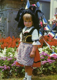 Alsacian girl in traditional coustumes, Alsace, France