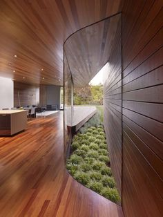 Glass-walled hallway renovation -- renovation by Terry & Terry Architecture. Photo by Bruce Damonte