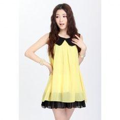 Chiffon Color Block Doll Collar Sleeveless Sweet Style Dress For Women