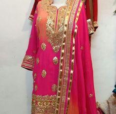 get this beautifull punjabi suit made at @nivetas Design Studio  https://www.facebook.com/punjabisboutique  whatsapp +917696747289 punjabi salwar suit, fusia colour punjabi salwar suit hot pink