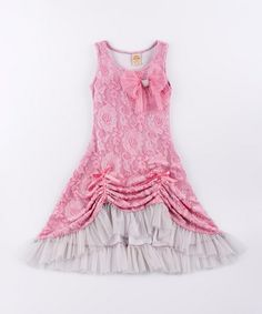 Dusty Rose & Silver Lace Drawstring Maxi Dress - Toddler & Girls... If only it was a different color, this could be cute