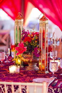 Candle centrepieces- Lovely colours