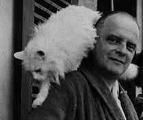 Artist Paul Klee with his cat Bimbo, 1935.