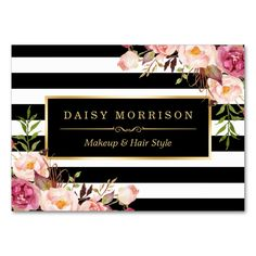 Vintage Floral Wrapping Around Black White Stripes Large Business Cards (Pack Of 100). This is a fully customizable business card and available on several paper types for your needs. You can upload your own image or use the image as is. Just click this template to get started!